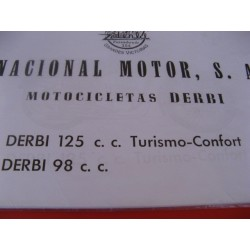 derbi 98 y 125 turismo y confort despiece