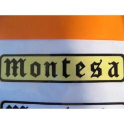 "montesa adhesivo ""montesa"" gotico negro y amarillo 11 x 2,5"