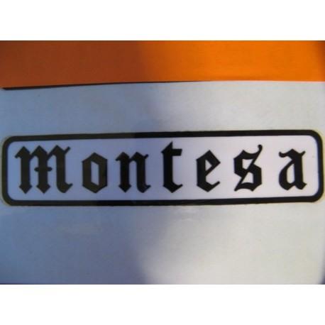 "montesa adhesivo ""montesa"" gotico negro y blanco 11 x 2,5"