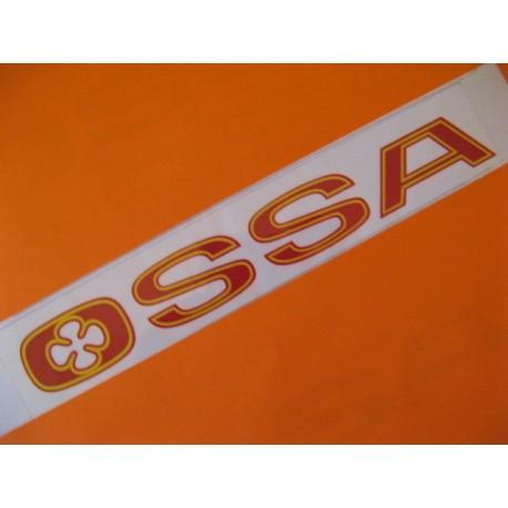 """ossa emblema """"ossa"""" en rojo y amarillo 23 x 3"""