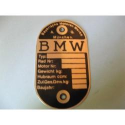 bmw chapa identificativa para poner en el chasis