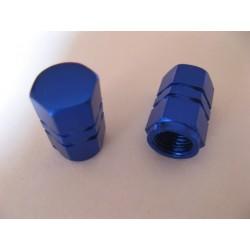 tapones de valvula (2) de aluminio azul para cualquier moto