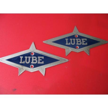 lube emblemas (2) metalicos de rombo azul
