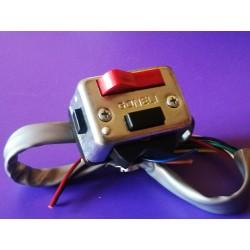 interruptor rectangular zincado para fijar en el manillar o atornillar al soporte de maneta Amal completo CON CABLEADO ELECTRICO