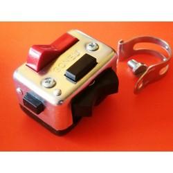 interruptor rectangular zincado para fijar al manillar o atornillar al soporte de maneta Amal SIN CABLEADO ELECTRICO