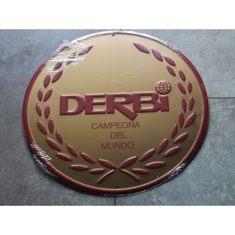 derbi chapa decorativa en oro en relieve de 30 cm de diametro