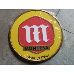 montesa amarilla chapa decorativa en relieve 30 cm diametro
