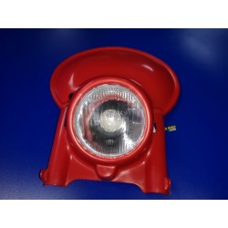 porta faro universal de plastico rojo con cristal y optica para ciclomotor y moto enduro