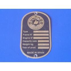 bultaco chapa identificativa de chassis en ingles unica