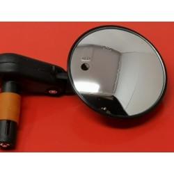 espejo de puño negro de pequeño tamaño ideal moto custom diametro 75 mm
