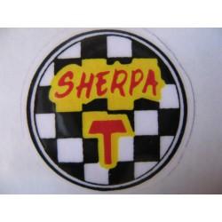 "Bultaco sherpa T, emblema ""sherpa T "" dela tapa lateral"
