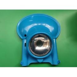 porta faro universal de plastico azul con criatal y optica