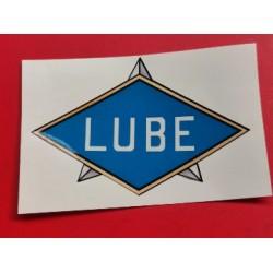 lube emblema adhesivo del deposito azul y oro